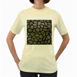 SKIN1 BLACK MARBLE & GRAY LEATHER Women s Yellow T-Shirt