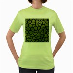 SKIN1 BLACK MARBLE & GRAY LEATHER Women s Green T-Shirt