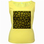 SKIN1 BLACK MARBLE & GRAY LEATHER Women s Yellow Tank Top