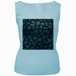 SKIN1 BLACK MARBLE & GRAY LEATHER Women s Baby Blue Tank Top