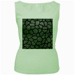 SKIN1 BLACK MARBLE & GRAY LEATHER Women s Green Tank Top