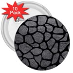 SKIN1 BLACK MARBLE & GRAY LEATHER 3  Buttons (10 pack)
