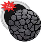 SKIN1 BLACK MARBLE & GRAY LEATHER 3  Magnets (10 pack)