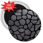 SKIN1 BLACK MARBLE & GRAY LEATHER 3  Magnets (100 pack)