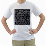 SKIN1 BLACK MARBLE & GRAY LEATHER Men s T-Shirt (White) (Two Sided)