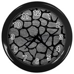 SKIN1 BLACK MARBLE & GRAY LEATHER Wall Clocks (Black)