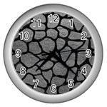 SKIN1 BLACK MARBLE & GRAY LEATHER Wall Clocks (Silver)