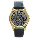 SKIN1 BLACK MARBLE & GRAY LEATHER Round Gold Metal Watch