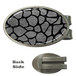 SKIN1 BLACK MARBLE & GRAY LEATHER Money Clips (Oval)