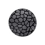 SKIN1 BLACK MARBLE & GRAY LEATHER Rubber Coaster (Round)