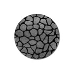 SKIN1 BLACK MARBLE & GRAY LEATHER Magnet 3  (Round)