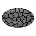 SKIN1 BLACK MARBLE & GRAY LEATHER Oval Magnet