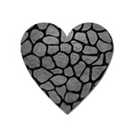SKIN1 BLACK MARBLE & GRAY LEATHER Heart Magnet