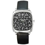 SKIN1 BLACK MARBLE & GRAY LEATHER Square Metal Watch