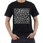 SKIN1 BLACK MARBLE & GRAY LEATHER Men s T-Shirt (Black) (Two Sided)
