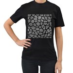 SKIN1 BLACK MARBLE & GRAY LEATHER Women s T-Shirt (Black) (Two Sided)