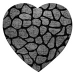 SKIN1 BLACK MARBLE & GRAY LEATHER Jigsaw Puzzle (Heart)