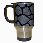 SKIN1 BLACK MARBLE & GRAY LEATHER Travel Mugs (White)