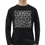 SKIN1 BLACK MARBLE & GRAY LEATHER Long Sleeve Dark T-Shirts