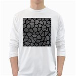 SKIN1 BLACK MARBLE & GRAY LEATHER White Long Sleeve T-Shirts