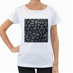 SKIN1 BLACK MARBLE & GRAY LEATHER Women s Loose-Fit T-Shirt (White)