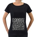 SKIN1 BLACK MARBLE & GRAY LEATHER Women s Loose-Fit T-Shirt (Black)