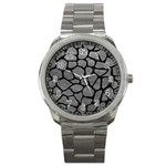 SKIN1 BLACK MARBLE & GRAY LEATHER Sport Metal Watch