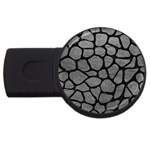 SKIN1 BLACK MARBLE & GRAY LEATHER USB Flash Drive Round (4 GB)