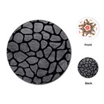 SKIN1 BLACK MARBLE & GRAY LEATHER Playing Cards (Round)