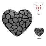 SKIN1 BLACK MARBLE & GRAY LEATHER Playing Cards (Heart)