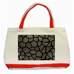 SKIN1 BLACK MARBLE & GRAY LEATHER Classic Tote Bag (Red)