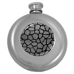 SKIN1 BLACK MARBLE & GRAY LEATHER Round Hip Flask (5 oz)