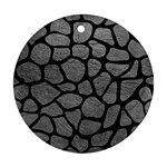SKIN1 BLACK MARBLE & GRAY LEATHER Round Ornament (Two Sides)