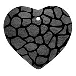 SKIN1 BLACK MARBLE & GRAY LEATHER Heart Ornament (Two Sides)