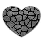 SKIN1 BLACK MARBLE & GRAY LEATHER Heart Mousepads