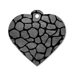 SKIN1 BLACK MARBLE & GRAY LEATHER Dog Tag Heart (One Side)