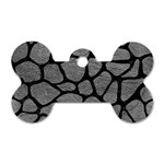 SKIN1 BLACK MARBLE & GRAY LEATHER Dog Tag Bone (One Side)