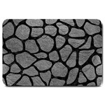 SKIN1 BLACK MARBLE & GRAY LEATHER Large Doormat