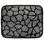 SKIN1 BLACK MARBLE & GRAY LEATHER Netbook Case (Large)