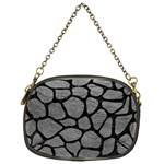 SKIN1 BLACK MARBLE & GRAY LEATHER Chain Purses (One Side)