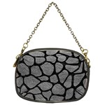 SKIN1 BLACK MARBLE & GRAY LEATHER Chain Purses (Two Sides)