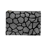 SKIN1 BLACK MARBLE & GRAY LEATHER Cosmetic Bag (Large)