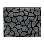 SKIN1 BLACK MARBLE & GRAY LEATHER Cosmetic Bag (XL)