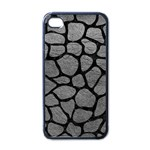 SKIN1 BLACK MARBLE & GRAY LEATHER Apple iPhone 4 Case (Black)