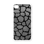 SKIN1 BLACK MARBLE & GRAY LEATHER Apple iPhone 4 Case (White)