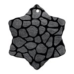 SKIN1 BLACK MARBLE & GRAY LEATHER Snowflake Ornament (Two Sides)