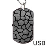SKIN1 BLACK MARBLE & GRAY LEATHER Dog Tag USB Flash (One Side)