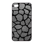 SKIN1 BLACK MARBLE & GRAY LEATHER Apple iPhone 4/4s Seamless Case (Black)