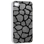 SKIN1 BLACK MARBLE & GRAY LEATHER Apple iPhone 4/4s Seamless Case (White)