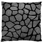 SKIN1 BLACK MARBLE & GRAY LEATHER Large Cushion Case (One Side)